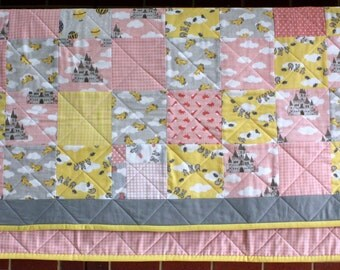 Pink and Yellow  Storybook Fairytale Nursery Moda Cotton Quilt