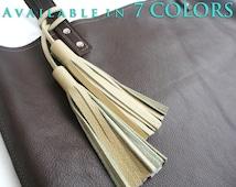 Double Leather Tassel Purse Charm - Tassel for Handbag Strap - Tassel Accessory in Black,Brown, Cream, Gray, Camel