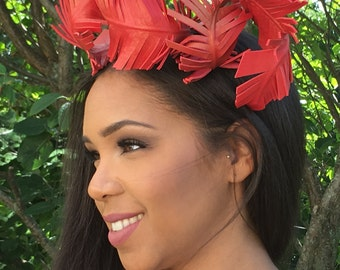 RED Leather Feather Fascinator- CHRISTMAS Hat- VALENTINE'S Hat- Wedding-Bridal Headpiece-Race Wear Hat-Polo Hat-Teen-Holiday Gift !