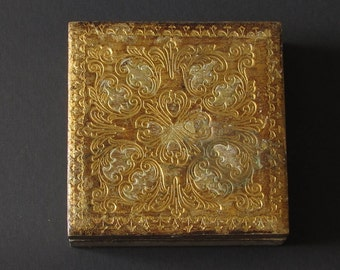 Gold Italian Florentine Wood Square Box - Shabby Chic - Gold Gilded or Gilt - Desk Accessory - Trinket Jewelry Box - Gift Box