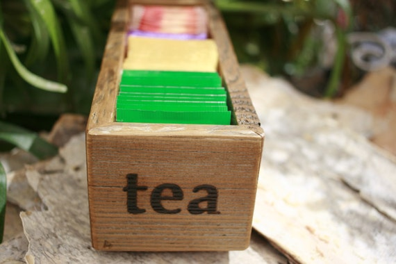 Teapot Tea Bag Caddy Holder Box Wood Gifts Under 25 Dollars