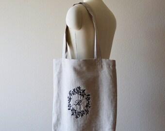 Custom Linen Monogrammed Foliage Tote Bag