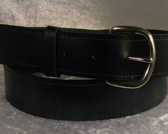 "Black leather belt with 1.25"" nickel buckle Made to Order"