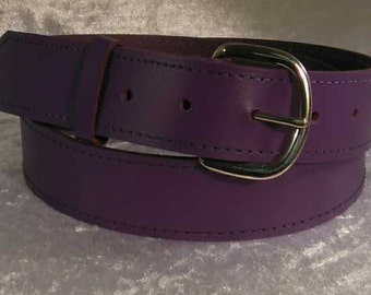 """Purple leather belt with 1.25"""" nickel buckle Made to Order"""
