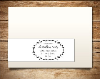 Printable Address Label Template for A7 Envelopes - Return Address - DIY Wedding Template - Invitation Template - Wreath Collection