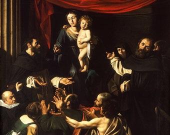 Caravaggio: Madonna of the Rosary. Fine Art Print/Poster. (002076)