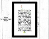 The Little Mermaid - Disney Typography Print - Quotes & Lyrics - Physical Print - A4 Unframed - A4 Framed - A3 Framed - Custom Print