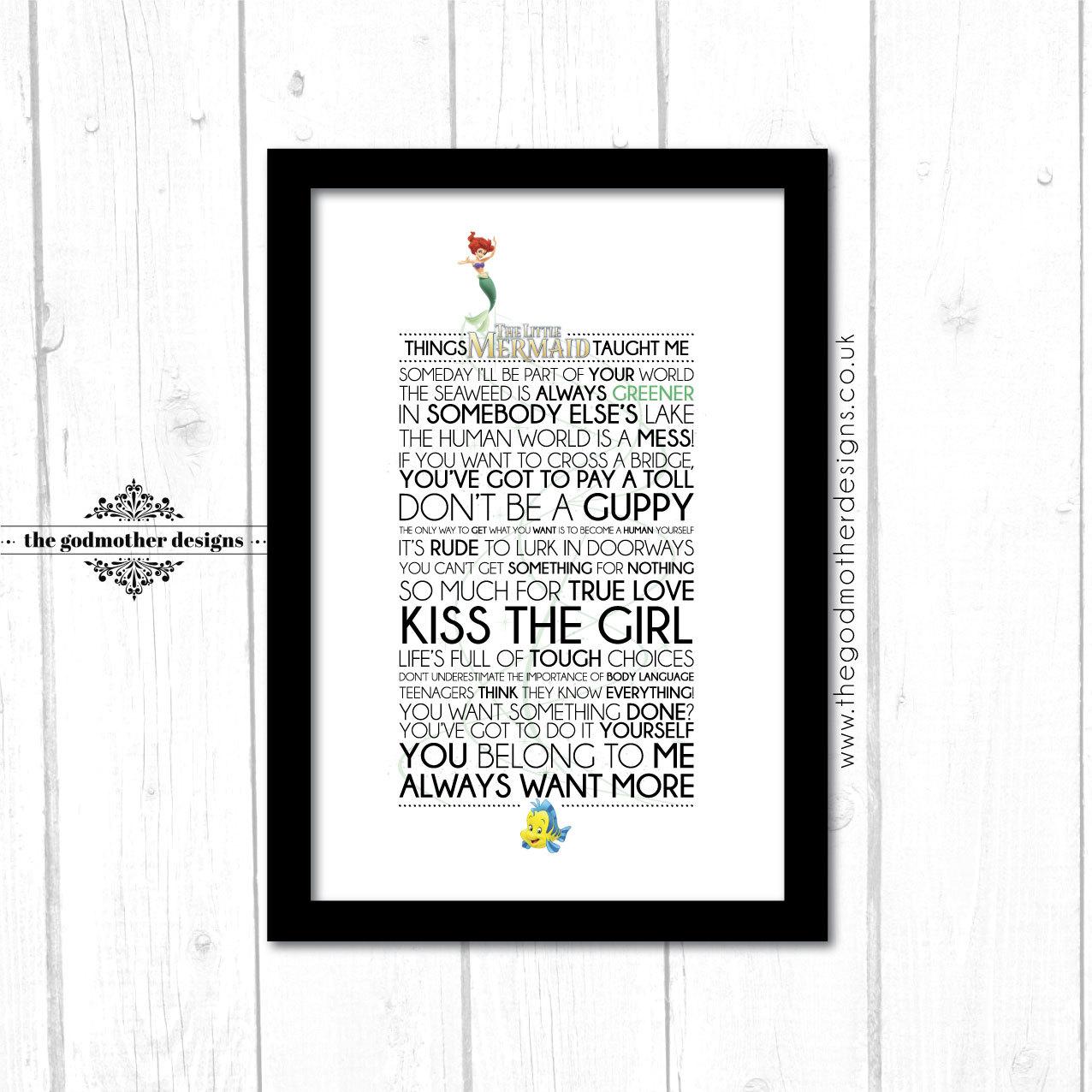 the little mermaid disney typography print quotes u0026 lyrics