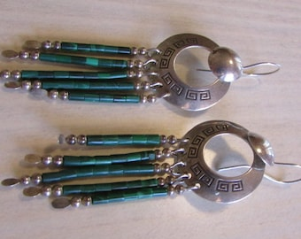 Sterling Silver and Faux Malachite Heshi Dangle Earrings