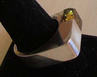 Sterling Silver and Amber Ring  Size 11 1/2