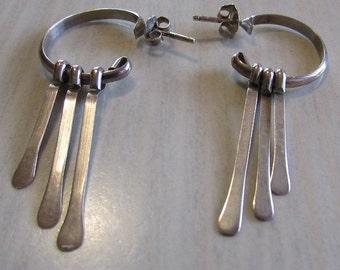 Sterling Silver Hoop Earrings with 3 Dangles.