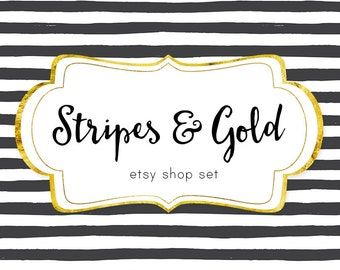 Premade Etsy Shop Banner, Stripes And Gold Modern Banner, Chic Banner Set, Store banners, shop icon, new cover photo, Stripes Branding style