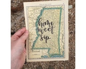 1907 Vintage Mini Map | personalized calligraphy map | original vintage map | custom map | calligraphy map | custom calligraphy map