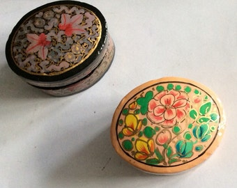 Two hand painted lacquer boxes from middle east or Asia