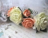 Bridal flower comb Coral Ivory roses hair comb Woodland  hair comb botanical wedding Rustic wedding Bridal hair accessory Rose headpiece