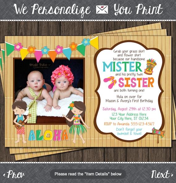 twins birthday invitation luau party hawaiian by puggyprints, Birthday invitations