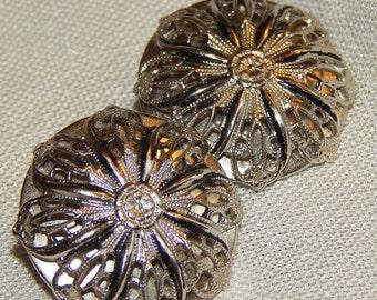 SALE Beautiful Vintage Whiting & Davis Earrings - Silver Filigree, Clips