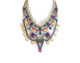 LEGO-ALIA spring summer 2016  hand painted rhinestone statement bib necklace