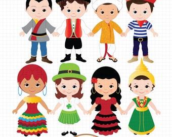 Children of the World clipart, World Children clipart, Global clipart, Children clipart, Unity clipart, Ethnic clipart, Kids clipart
