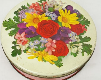Vintage 1970s Charl-Mont candy tin real-photo graphic basket with bright flowers red base