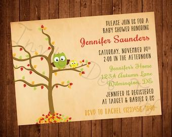 Autumn Owls Baby Shower (Printable) Invitation
