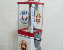 VINTAGE gumball machine candy machine Dixie oil gasoline station gas pump petro collectibles candy gumball vending machine + stand