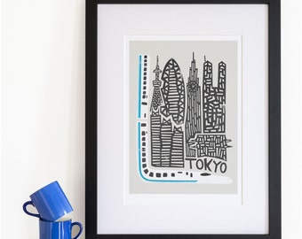 Tokyo City Print, Japan Travel Wall Art, Home Decor, Shinkansen Bullet Train, Famous Buildings Architecture, City Posters, Retro Style Print