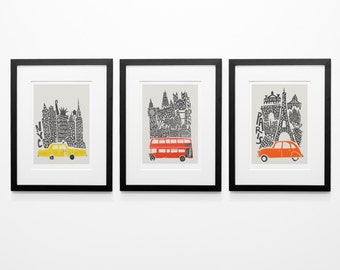Set of 3 City Prints, New York, London, Paris, Housewarming Gift Idea, Cityscape Prints, Living Room Wall Art, Boyfriend Girlfriend Gift