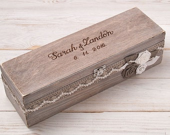 Wedding Wine Box Ceremony First Fight Box Memory Box Wedding Time Capsule Anniversary Box Keepsake Box Customize Hand Engraved