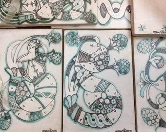 Italian majolica tile, original design Orvieto.
