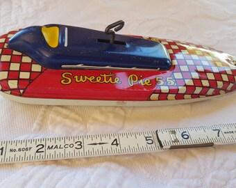 Vintage windup toy, SWEETIE PIE 55, speed boat by Ohio Art