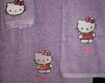 Kitty Pastel Personalized 3 piece Towel Set Bathtowel, Handtowel, & Washcloth Any Color