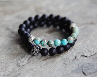 Mens beaded bracelet //  black agate beaded bracelet // boho bracelet // stack bracelet // bali bracelet