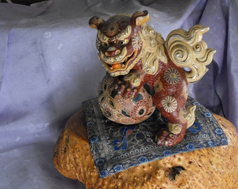 Large Kutani Foo Dog, 1940s Japanese Moriage Shi Shi Lion