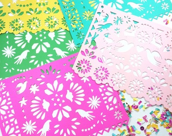 Mexican Fiesta Papel Picado Banners, Otomi, Mexican Weddings, Birthdays and Parties, Paper Cut Decorations, Fiesta