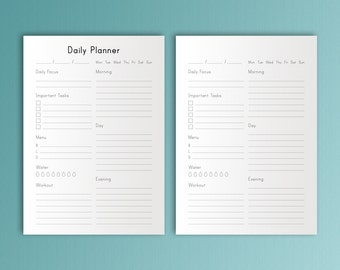 DAILY PLANNER Printable Workout Pages Health Planner Organizer To Do Agenda A4 Inserts pdf Menu planner refill day plan. Instant Download.