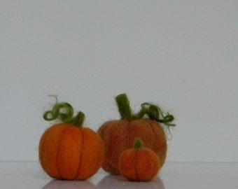 set of 3 mini wool needle felted pumpkins