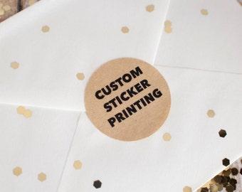 Custom sticker printing 34mm rounds brown kraft paper