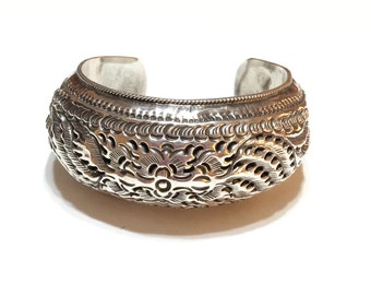 Art Deco Chinese Bracelet, Sterling Silver Cuff Bracelet, Sterling Repousse Cuff, Statement Jewelry, Vintage Jewelry