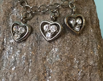 Mother's Day Charm Bracelet Three Heart Bracelet Triplet Heart Bracelet Heart Jewelry