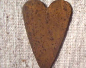 "1-1/2""  Rusty Tin Hearts - set of 12 primitive hearts .. scrapbook, craft embelllishments"