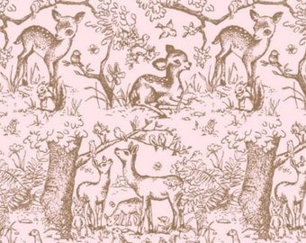 Pink Meadow Tissue Paper # 369 / Gift Paper - Birds, Deer, Rabbits, Nature , Baby Girl