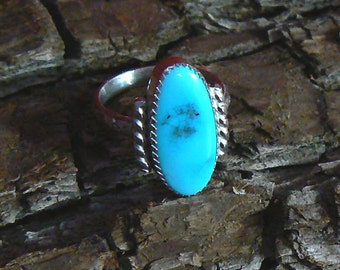 High Grade Candelaria Turquoise and Sterling Silver Ring, Size 6-3/4 US, 6 carat
