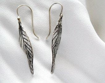 NEW , Silver earrings , sterling silver leaf earrings , leaf earrings , dangle earrings , long earrings , simple earrings