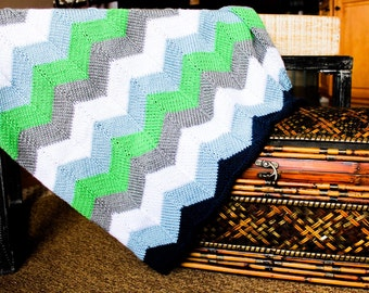 Hand knit chevron baby blanket - Charles