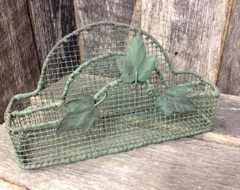 45 - Mail Organizer - Mesh - Wire -Home Decor - Olive Green - Distressed
