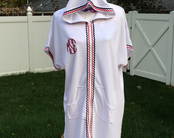 Monogrammed Women's Beach Robe Swimsuit Terry Cover-Up - Personalized