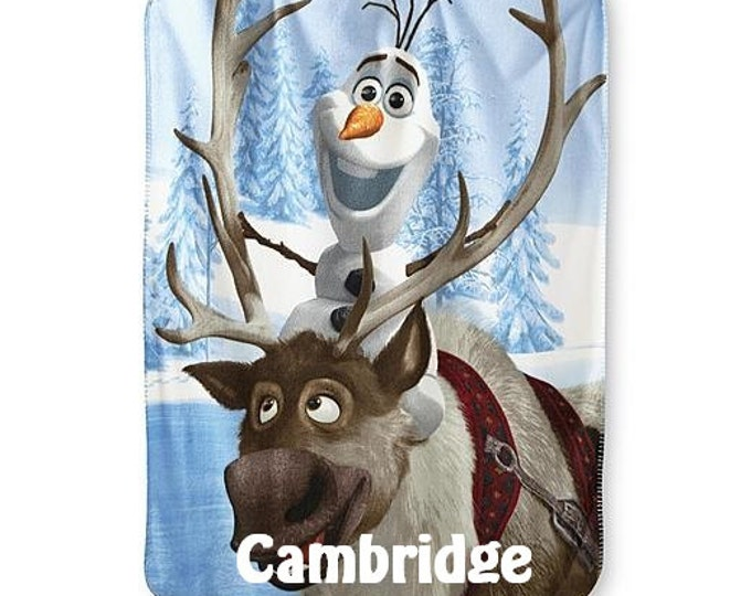FROZEN Olaf and Sven Personalized Kids Micro Fleece Throw  Blanket - Monogrammed
