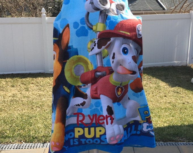 Paw Patrol Hooded Towel Wrap Bath Beach or Pool Towel - Personalized