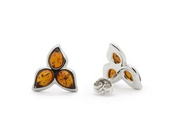 Flower Earrings - Amber Flower Earrings - Flower Stud Earrings - Silver Flower Earrings - Amber Earrings - Flower Studs -359E9